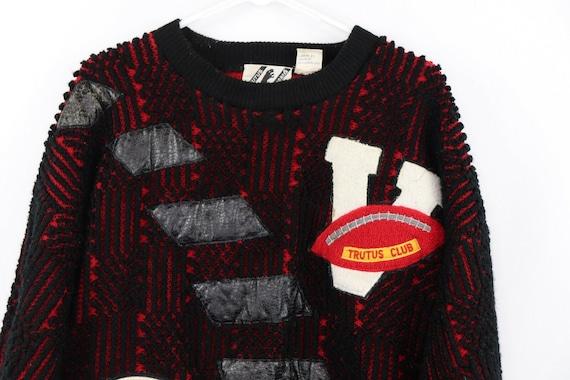 80s Streetwear Mens Medium Football Knit Varsity … - image 2