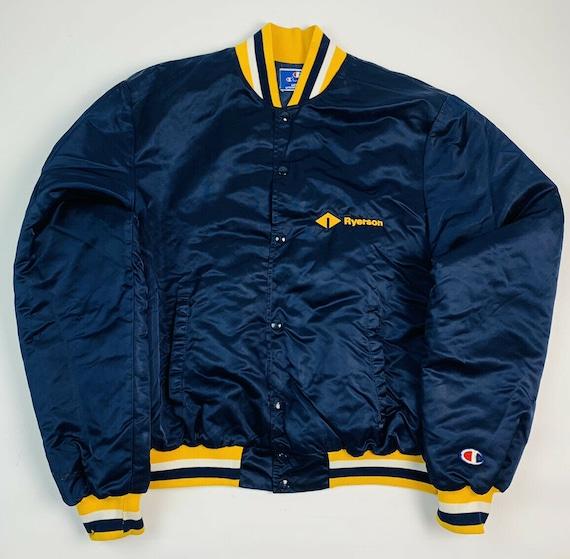 Vintage Champion XL Mens Satin Bomber Jacket, VTG