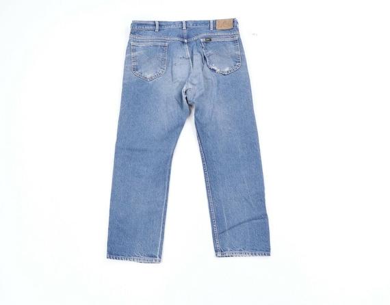 80s Lee Mens 36x28 Straight Leg Thrashed Distress… - image 6