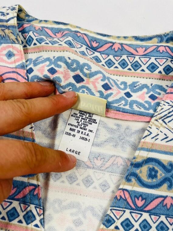 90s Womens Large Aztec Denim Button Front Vest US… - image 5