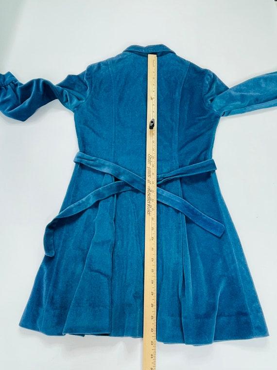 70s Womens Medium Velour Collared Mini Disco Dres… - image 2