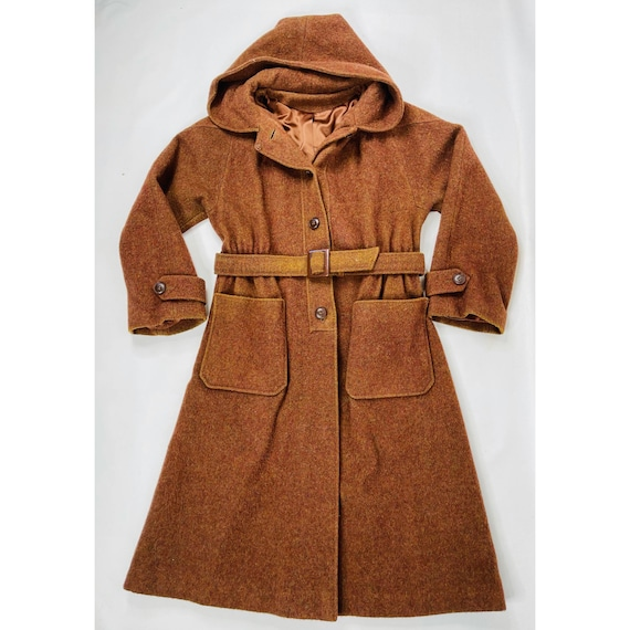 70s Womens Large Brown Wool Hooded Trench Coat, Vi