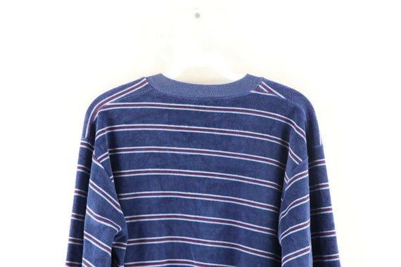 70s Rockabilly Womens Large Multicolor Striped V-… - image 6