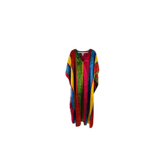 90s Womens OS Rainbow Satin Kaftan Beach Dress, 9… - image 1