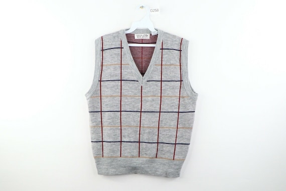 80s Streetwear Mens Small Multicolor Plaid Acrylic