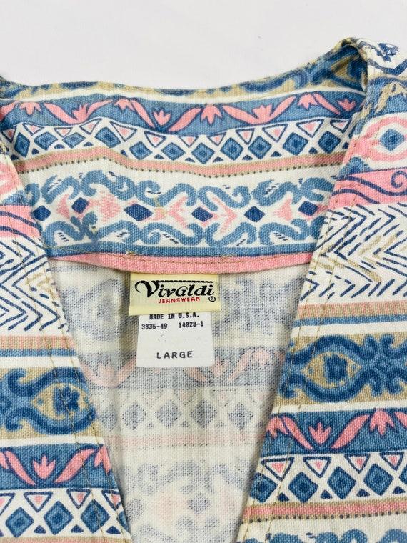 90s Womens Large Aztec Denim Button Front Vest US… - image 2