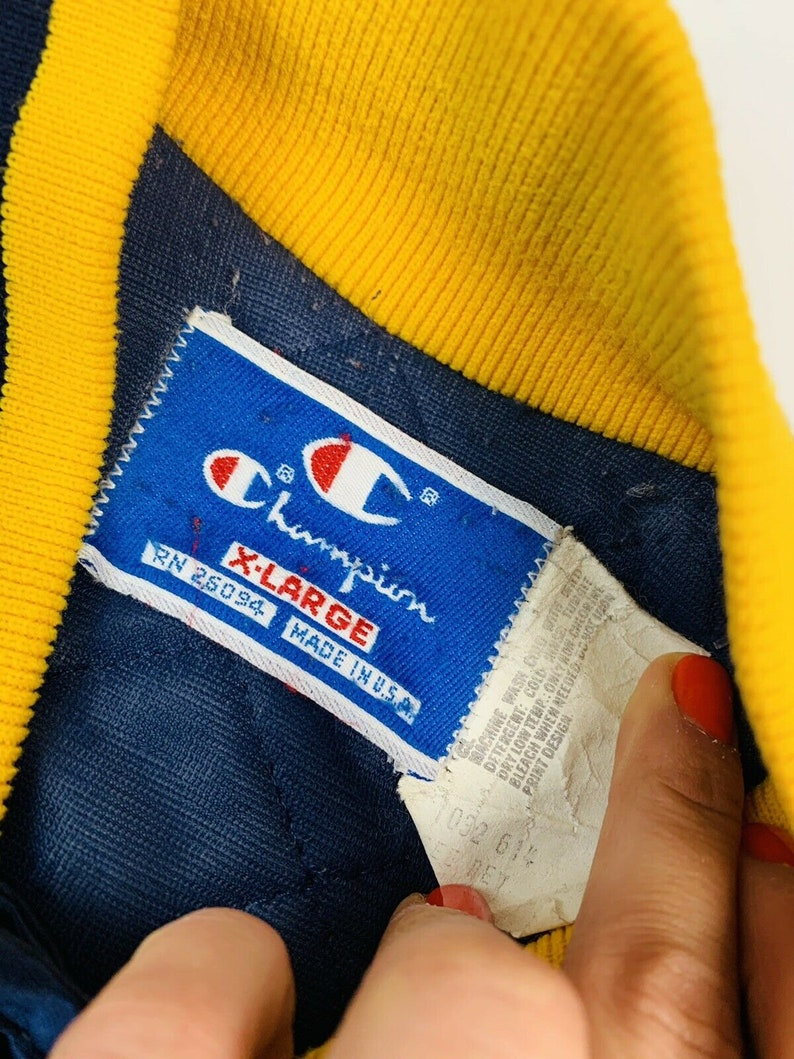 Vintage Champion xl mens satin jacket VTG Champion Mens XL Sating Bomber Jacket Stitched Vintage Champion XL Mens Satin Bomber Jacket