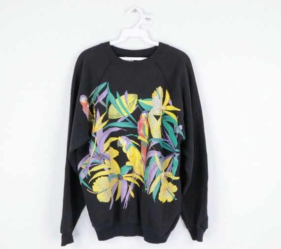 80s Streetwear Mens Large Distressed Floral Print
