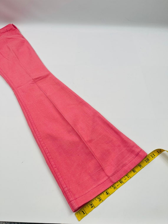 70s Womens 0 XS High Rise Bell Bottom Jeans Brigh… - image 4