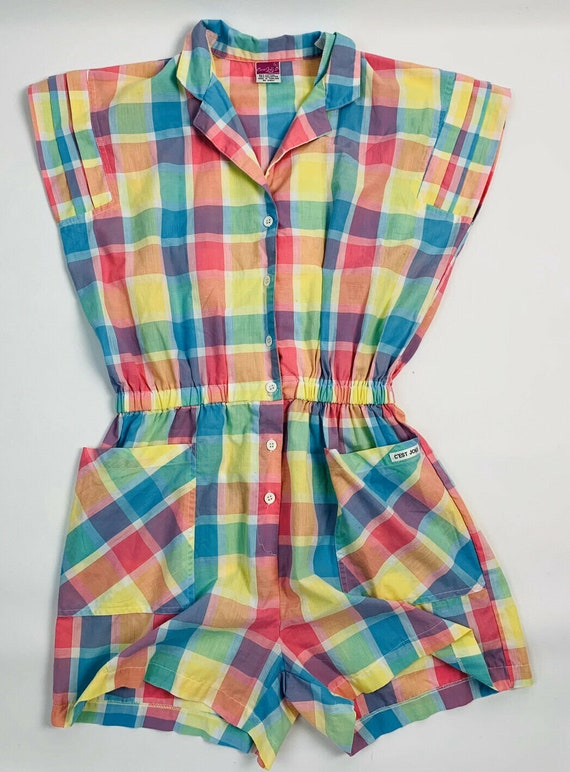 Vintage Rockabilly Plaid Cotton Romper, Vintage Pi