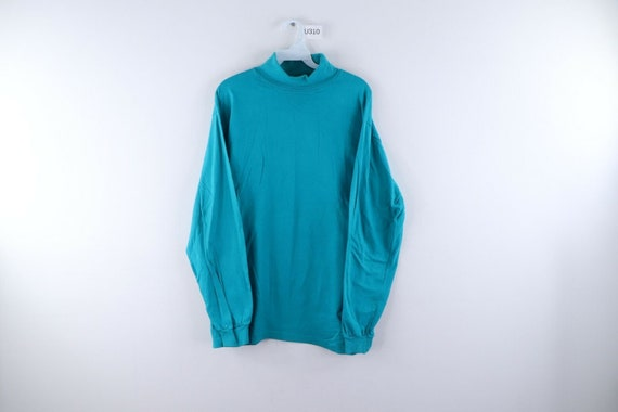 80s Streetwear Mens Large Blank Long Sleeve Turtle