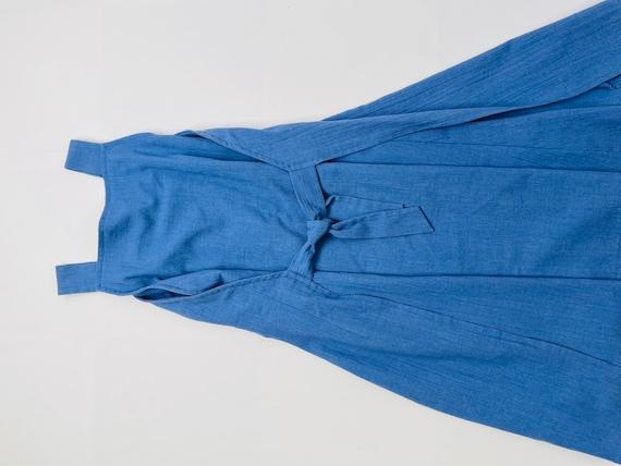 70s Womens Large Blue Chambray Denim Apron Wrap D… - image 4