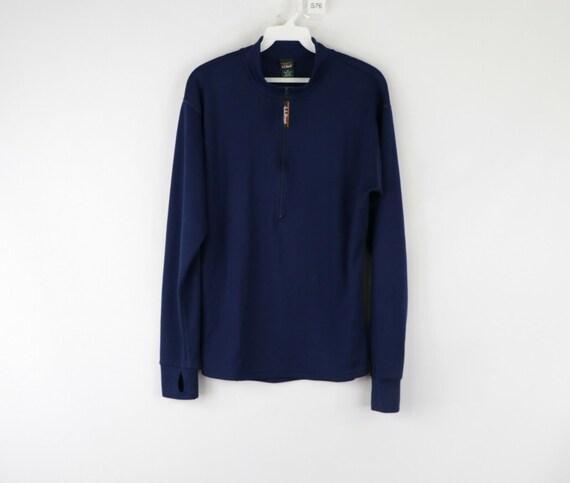90s LL Bean Mens Large Long Sleeve Half Zip Therm… - image 1