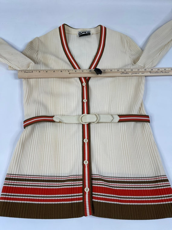 60s Mod Womens Large Ivory Striped Wide Leg Pant … - image 3