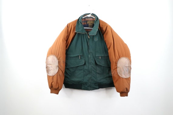 90s Eddie Bauer Mens Large Down Fill Leather Elbow