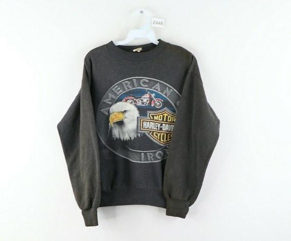 Vintage 1988 Harley Davidson Motorcycle Biker Sweatshirt With Spellout LOGO XL USA