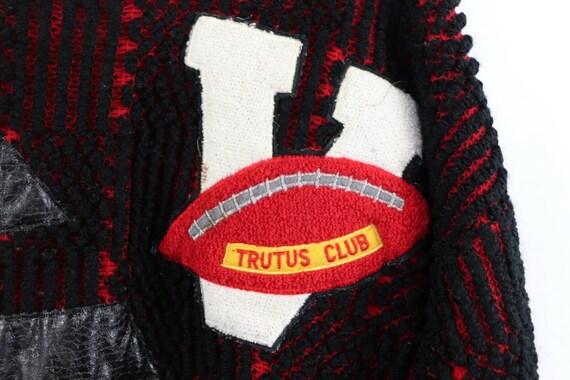 80s Streetwear Mens Medium Football Knit Varsity … - image 3