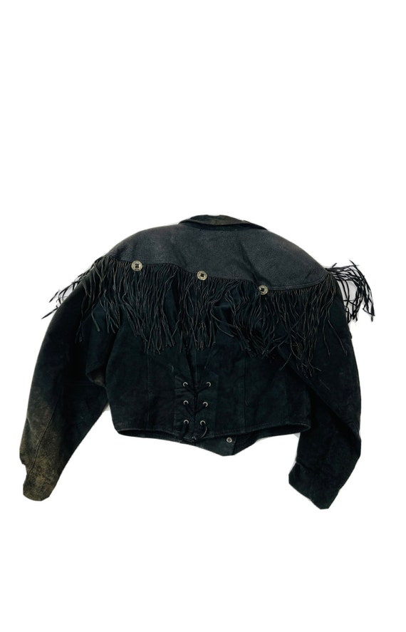 90s Rockabilly Womens Small Fringed Suede Leather… - image 2
