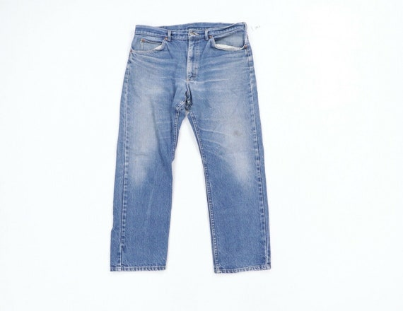 80s Lee Mens 36x28 Straight Leg Thrashed Distress… - image 1