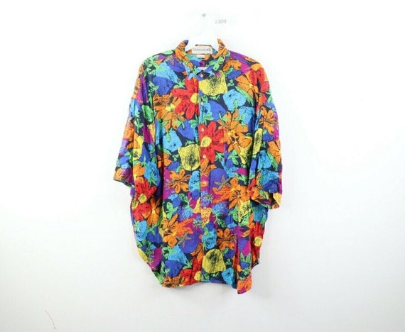 90s Streetwear Mens Large Abstract All Over Floral