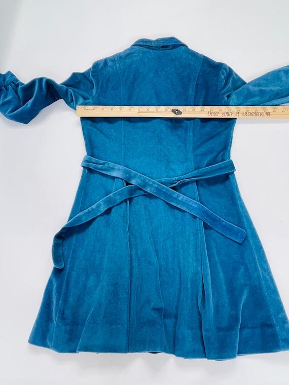 70s Womens Medium Velour Collared Mini Disco Dres… - image 3