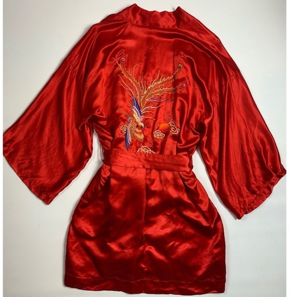 VTG 40s Pearls Large Silk Oriental Satin Robe Embr