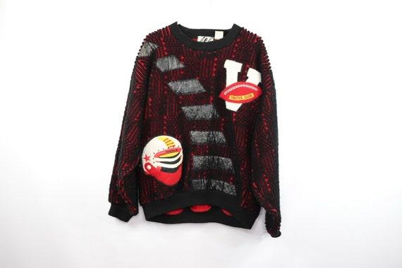 80s Streetwear Mens Medium Football Knit Varsity … - image 1
