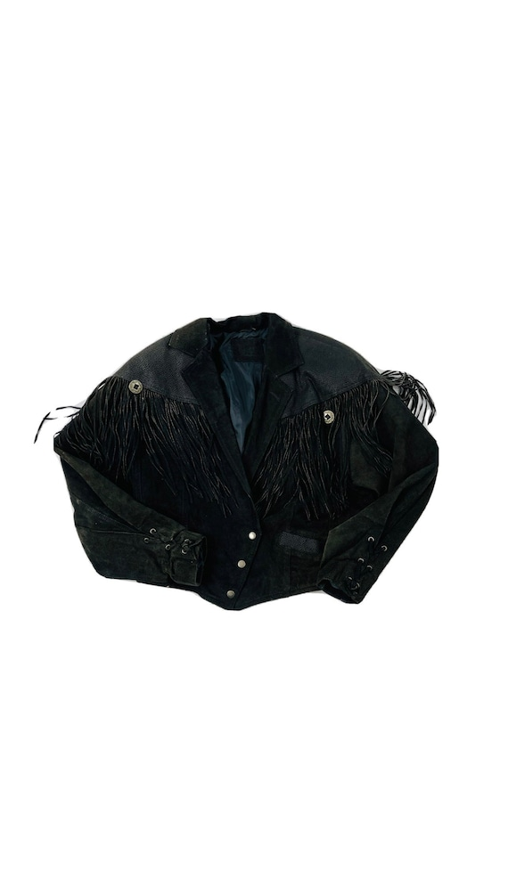 90s Rockabilly Womens Small Fringed Suede Leather