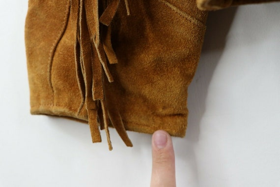 90s Rockabilly Mens 2XL Fringed Suede Leather Wes… - image 8