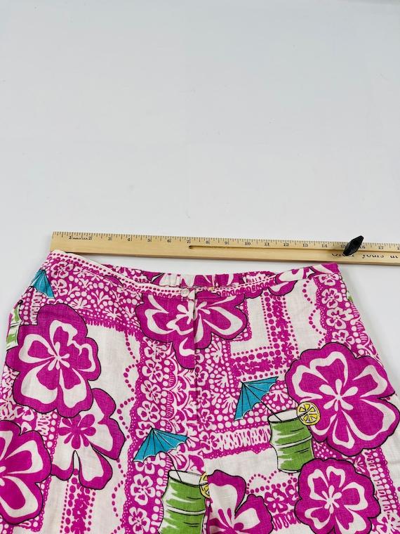 90s Rockabilly Womens Small Linen Hawaiian Floral… - image 6