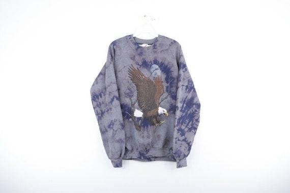 80s Mens Large Distressed Acid Wash Eagle Print Cr