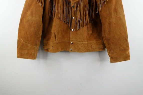 90s Rockabilly Mens 2XL Fringed Suede Leather Wes… - image 3
