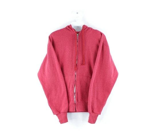 80s Streetwear Mens Small Blank Full Zip Hoodie Sw