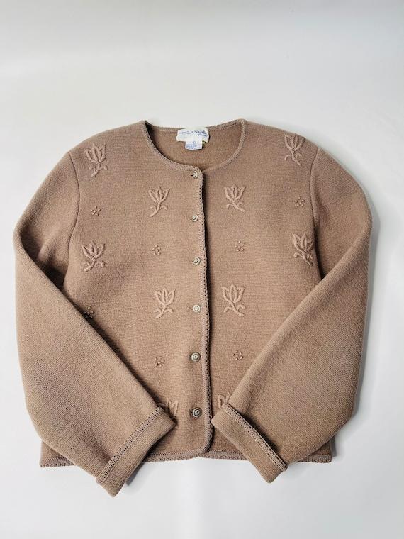 90s Beaded Floral Silk Cardigan Sweater  Black Longsleeve Slightly Cropped Single-Button Cardi  90s Cute Flowers Sweater Women/'s Large