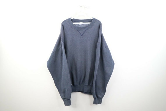 90s Russell Athletic Mens 2XL Blank Faded Crewneck