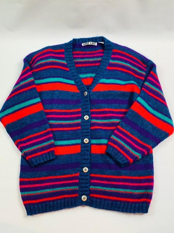 VTG 90s Womens Medium Multi Color Striped Cardigan