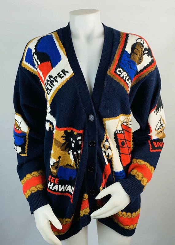 VTG 90s Womens Medium Oversized Travel Patchwork C