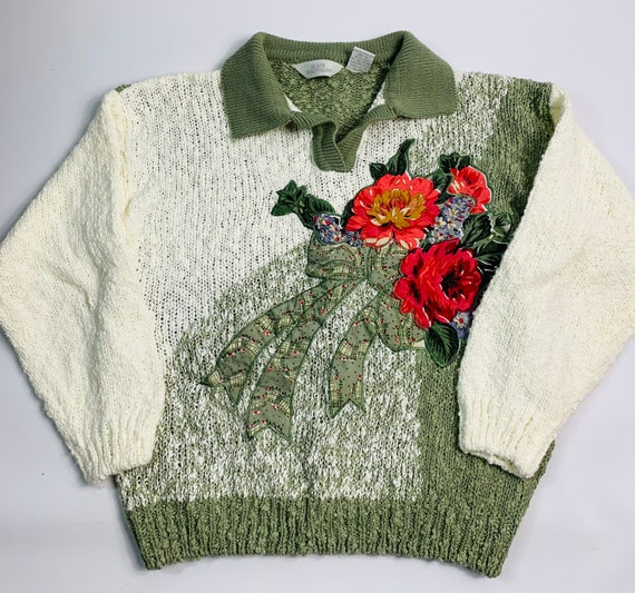 VTG 90s Streetwear large floral stitched collared
