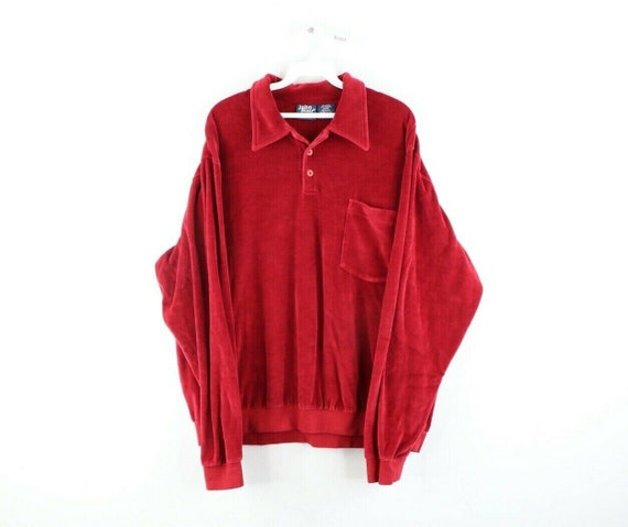 80s Streetwear Mens XL Velour Pullover Collared Po