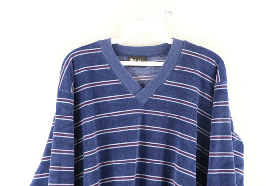 70s Rockabilly Womens Large Multicolor Striped V-… - image 2