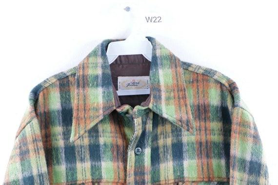 60s Mens Large Wool Double Pocket Multi-Color Pla… - image 3