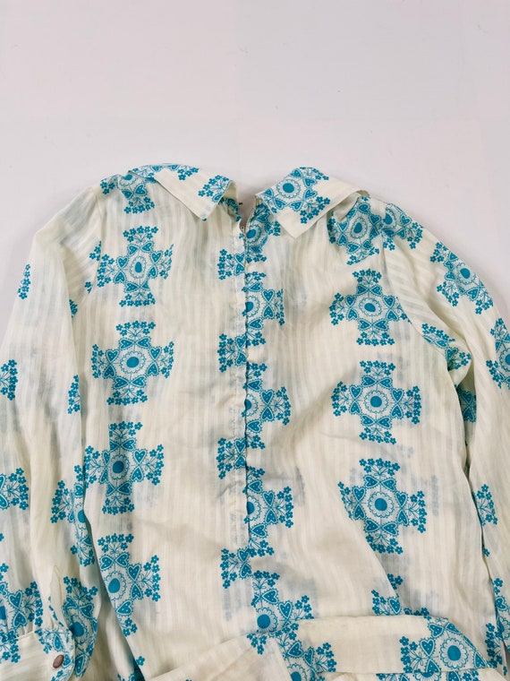 70s Womens Medium Floral Ruffled Neck Long Sleeve… - image 2