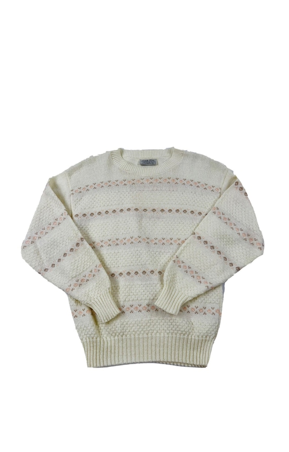 70s Womens Medium Acrylic Knit Floral Lightweight