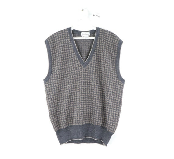 80s Streetwear Mens Small Houndstooth Knit Wool V