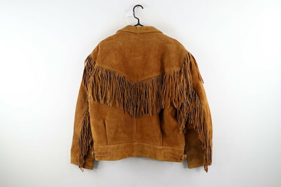 90s Rockabilly Mens 2XL Fringed Suede Leather Wes… - image 5