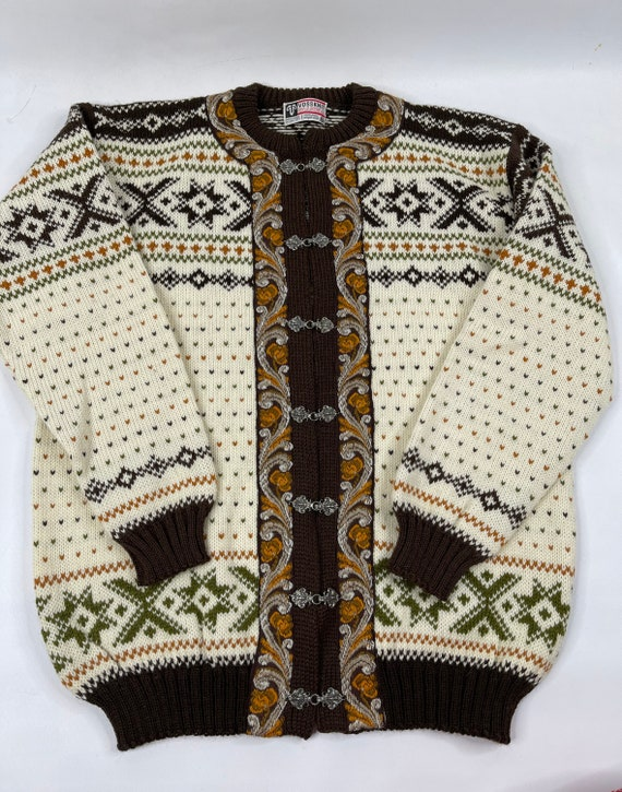 Acrylic Men/'s Medium 1970/'s L S Apres /& Co Brown Brown and Beige Snowflake Patterned Crew Neck Sweater Beige, Scandinavian Style