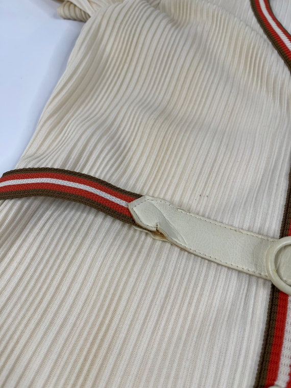 60s Mod Womens Large Ivory Striped Wide Leg Pant … - image 8