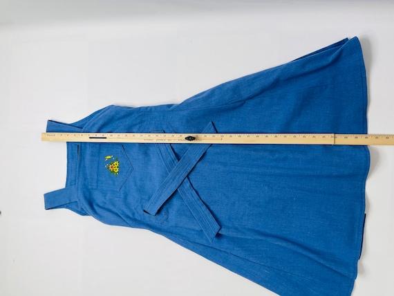 70s Womens Large Blue Chambray Denim Apron Wrap D… - image 5