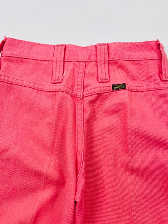70s Womens 0 XS High Rise Bell Bottom Jeans Brigh… - image 7