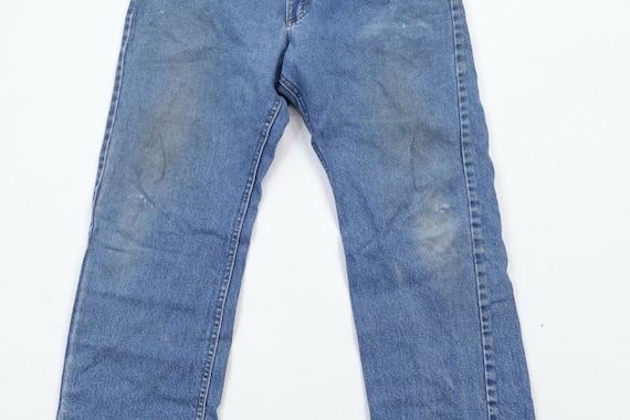 80s Lee Mens 36x30 Straight Leg Distressed Denim … - image 3